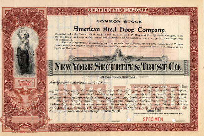 The American Steel Hoop Co American Bank Note Co specimen certificate, when issued, functioned as a receipt for American Steel Hoop Co shares submitted to the 1901 United States Steel Co consolidation.