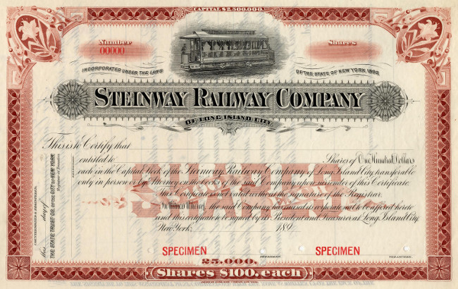 The Steinway Railroad Co was a Brooklyn trolley line organized by Steinway of the piano firm.